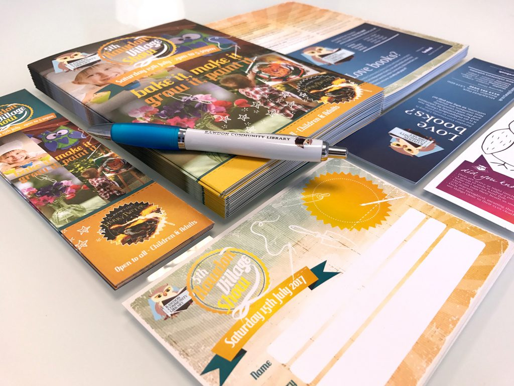 Brochures, leaflets, bookmarks, event programmes, branded pens